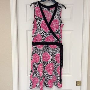 FLP Sleeveless Dress XL Stretch Faux Wrap No Iron